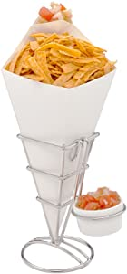 Conetek 10-Inch Eco-Friendly White Finger Food Cones with Built-in Condiment Dipping Pocket: Perfect for Appetizers - Food-Safe Paper Cone - Disposable and Recyclable - 100-CT