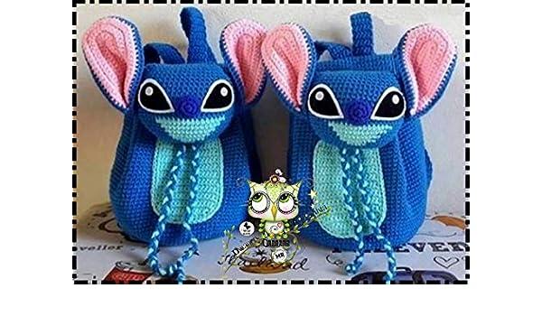 Mochila STITCH PERSONALIZABLE (Bebé, crochet, ganchillo, muñeco, peluche, niño, niña, lana, mujer, hombre) MODA: Amazon.es: Handmade