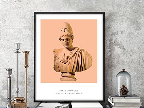 Athena | Portrait of Athena, Greek Mythology, Athena Bust Photo, Athena Bust Art Print, Modern Home Decor, Peach and White, Athena Art Print (Athena Picture)