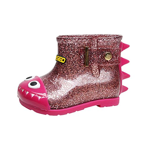 Baby Rain Boots Mini SED Anti-Slip Waterproof Dinosaur Rain Boots Rubber Children Rain Shoes (A Hot Pink, US:9 Age:3-4 (Hot Pink Love Boots)