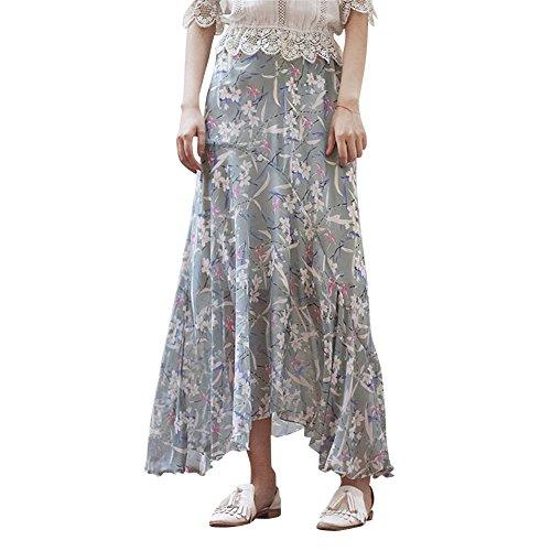Ladies Vintage&Bohme Style Rtro Ceinture Haute Fishtail Mermaid Jupe Longue Fleurie Jupe de Plage Style 3