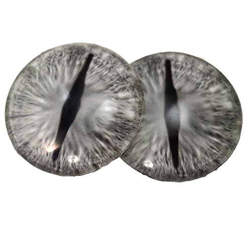 Silver Gray Glass Dragon Eyes Fantasy Art Dolls Taxidermy Sculptures or Jewelry Making Crafts Matching Set of 2 (40mm) by Megan's Beaded Designs