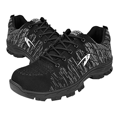 Safety Shoes Ankle Hiking Boots Outdoor Jogging Trekking Sport Shoes Men's Hiking Boots(41- Black)
