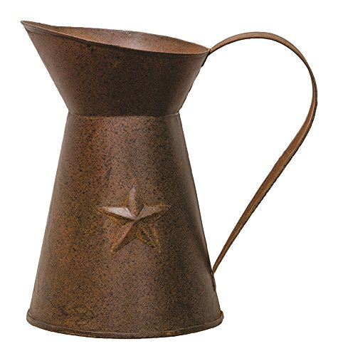 CWI Gifts Rusty Pitcher with Embossed Star (Set of 2), 4