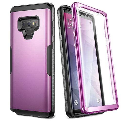 YOUMAKER Case for Galaxy Note 9, Full Body Heavy Duty Protection with Built-in Screen Protector Shockproof Rugged Cover for Samsung Galaxy Note 9 (2018) 6.4 Inch - Purple/Black