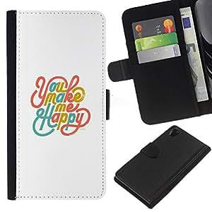 KLONGSHOP // Tirón de la caja Cartera de cuero con ranuras para tarjetas - You Make Me Happy oro blanco del trullo - Sony Xperia Z2 D6502 //
