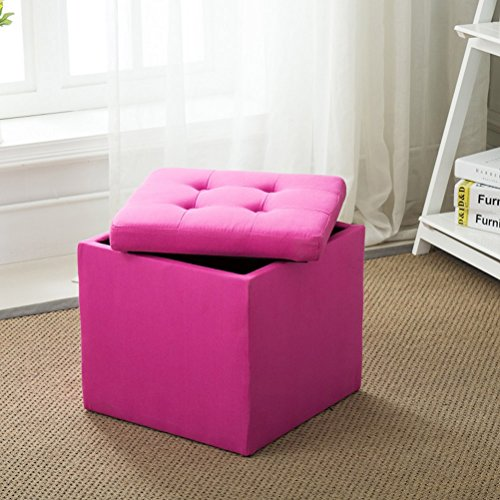 Folding Tufted Storage Ottoman Bench with Fire Prevention Fabric Footrest Stool Coffee Table Cube, Camping Fishing Stool, Quick and Easy Assembly, Perfect for Child, etc For Sale