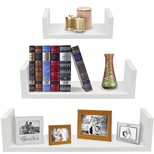 Sorbus Floating Shelves — Hanging Wall Shelves Decoration — Perfect Trophy Display, Photo Frames (White)]()