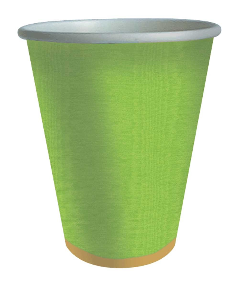 Caspari Entertaining Moire 9-Ounce Paper Cup, Lime
