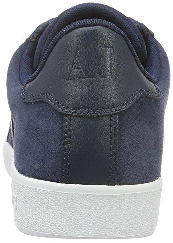 Armani Jeans Menns Lav Topp Semsket Skinn Snøre På Logo Sneaker Blå