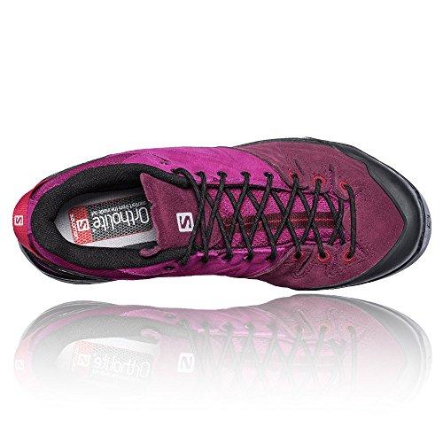 Salomon Womens X ALP LTR W Leather Hiking Sneaker Mystic Purple, Bordeaux, Lotus Pink