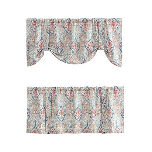 Damask Printed Tie-up Valances for Windows Multicolor Linen Textured Adjustable Tie Up Shade Window Curtain Rod Pocket Medallion Tie-up Valance Curtains 18 Inches Long 1 Panel, - Valance Adjustable Window