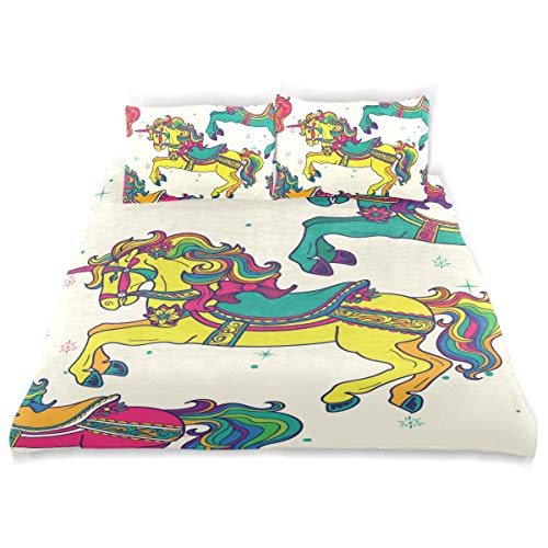 - MIGAGA, Amusement Park Carousel Horses Pattern, Design Bedding Decoration 3 PC Sets 1 Duvet Cover with 2 Pillow Shams King Size Soft Microfiber Bedding Set with Zipper Closure