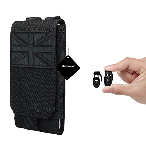 xhorizon(TM)XH8 Universal Army Phone Pouch Accessory Bag Case For iPhone 6/6s 6plus Samsung Galaxy S6 S5 S4 HTC Sony Nokia Nexus Elephone Mobile Phone Belt Pouch With UK Flag Tactical