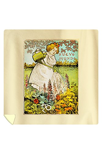 Nuevo Mundo Vintage Poster (artist: Florit) Spain (88x88 Queen Microfiber Duvet Cover) by Lantern Press