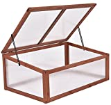 K&A Company Wooden Cold Frame Raised Greenhouse Garden Outdoor Plants Seeding Brown Portable