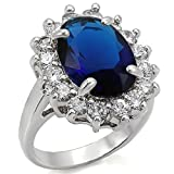 Stainless Steel 6 Ct Oval Montana Royal Replica Halo Engagement Ring, Size 5,6,7,8,9,10 (6)