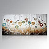 Seekland Art Large Hand Painted Textured Abstract Flower Oil Painting Modern Pictures Canvas Wall Art Contemporary Artwork Floral Decor Hanging Unstretched and No Frame 72''W x 36''H