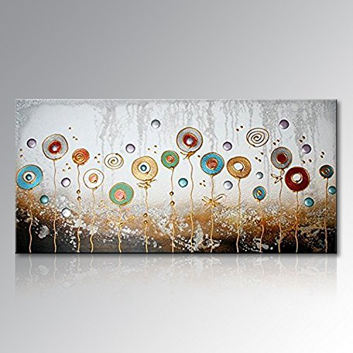 Seekland Art Large Hand Painted Textured Abstract Flower Oil Painting Modern Pictures Canvas Wall Art Contemporary Artwork Floral Decor Hanging Unstretched and No Frame 72''W x 36''H by Seekland Art