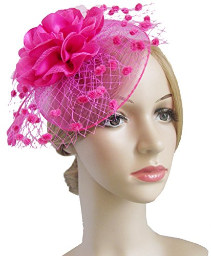61163a84c86 Fascinators Flower Cocktail Easter Headwear. Review - Fascinators Hats for  Womens 50s Headwear with Veil Flower Cocktail Wedding Tea Party Hat(A-Rose)