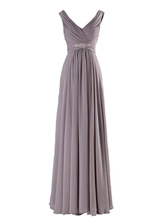 Olidress Womens Sleeveless Long Evening Prom Dress Grey US12