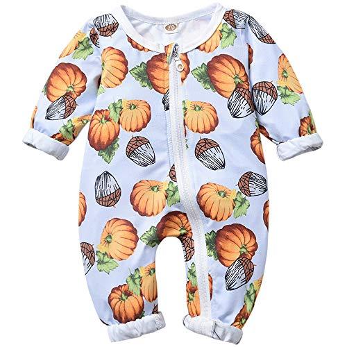 Baby Boy Girl Clothes Halloween Pumpkin Zipper Footless Sleep and Play Onesie(0-6 Months, Blue)