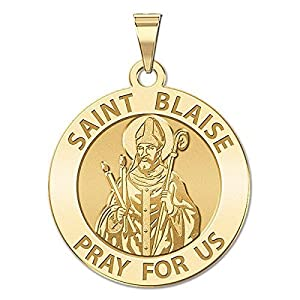 PicturesOnGold.com Saint Blaise Religious Medal Available in Solid 10K And14K Yellow or White Gold, or Sterling Silver