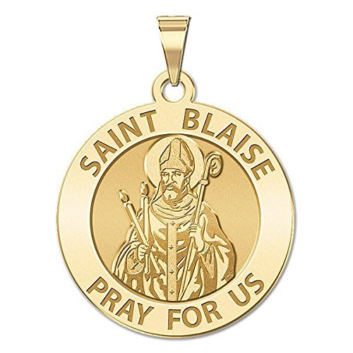 3//4 Inch Size of a Nickel Solid 14K White Gold PicturesOnGold.com Saint Blaise Religious Medal