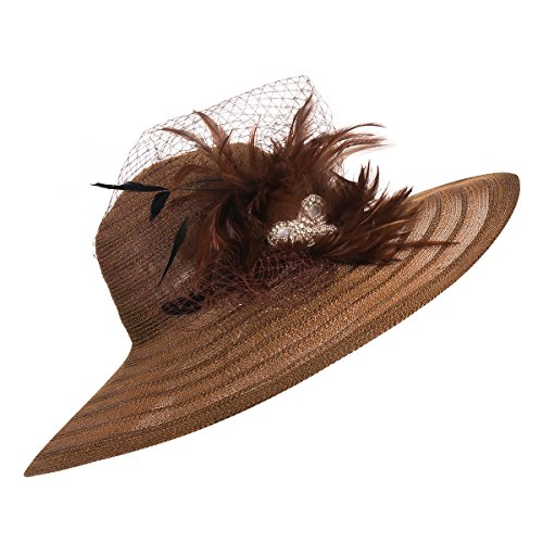 Derby Kentucky Wedding Dress Hat Feather Brim Church Sun A265 Womens Lawliet Brown Veil Wide HqIxfaxW