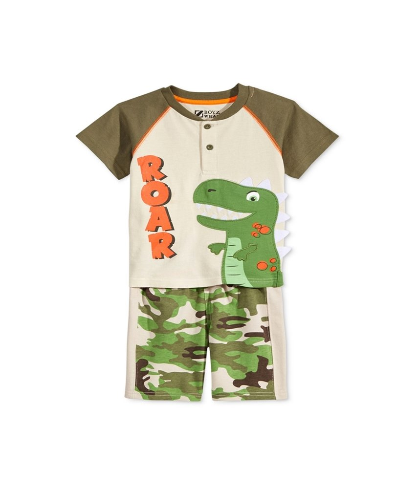 BoyzWear Little Boys' Toddler' 2 Piece Idinoasaur Tee with Tail and Spikes, Green, 2T