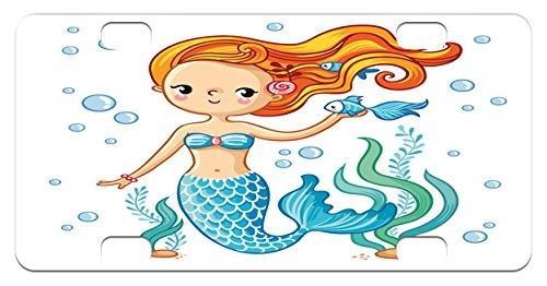 Cute Mini License Plate by Lunarable, Swimming Cartoon Mermaid Fantastic Oceanic Underwater Life Magic Fairy Character, High Gloss Aluminum Novelty Plate, 2.94 L x 5.88 W Inches, Orange Blue - Girls Nude Dorm