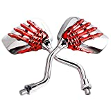 #6: Pairs of Distinctive Skull Skeleton Hand 8mm 10mm Rearview Side Mirror for Motorcycle Scooter Moped Bike Yamaha Suzuki Standard Bike (Red)