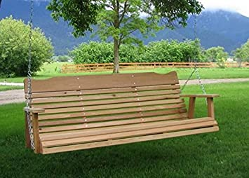 5u0027 Natural Cedar Porch Swing, Amish Crafted   Includes Chain U0026 Springs