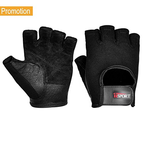 iiSPORT Mens Weight Lifting Gloves Leather Grip Gym Workout Crossfit Bodybuilding Fitness Gloves – Sports Center Store