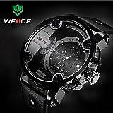 Weide Watches Men Military Quartz Sports Watch Luxury Brand Leather Strap Watch Wristwatch Oversize Wristwatches (Black Black)
