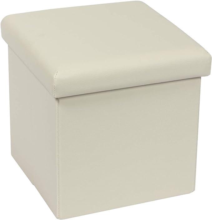 Bonlife Kiste mit Deckel Sitztruhe Kinder Schlafzimmer Möbel Faltbare Truhe Aufbewahrung Maximale Belastung 150kg Cremefarben 30x30x30cm