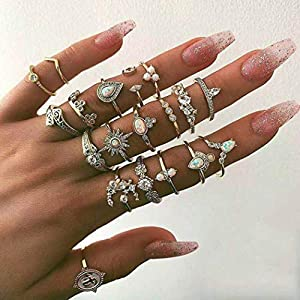 Twinklede Boho Finger Ring Set Gold Rhinestone Joint Knuckle Rings Crystal Stackable Ring for Women and Girls (Pack of…