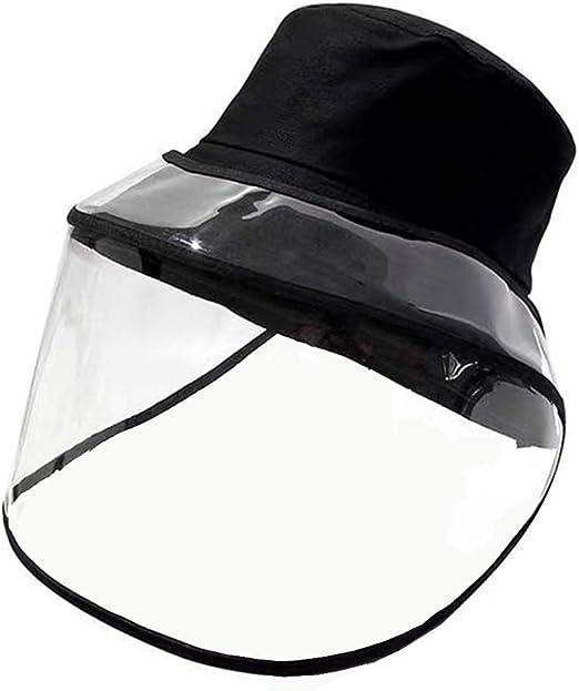 YuanDian Damen Buckets H/üte Mit Visier Face Shield Visors Fischerh/üte Schutzkappe Sommer UV-Schutz Vollgesicht Anti-Spray Anti-Spucke Abnehmbarer Transparent Visors Sonnenhut Caps