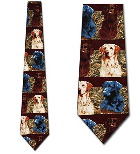 Labradors in the Field-Stripes Tie Mens Necktie