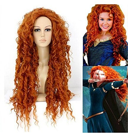 Futuretrend®high Quality Perucas Anime Cosplay Long Orange Curly Hair Costume Wig (Kinky Costumes)