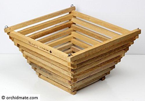 Wood Cedar Slat Orchid Basket - Pyramid 10 inch