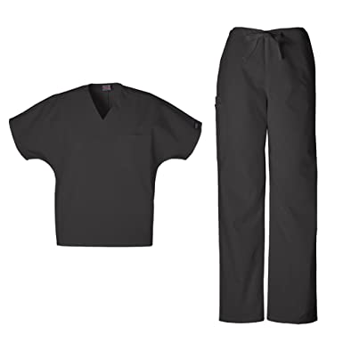 70aa3d2baf1 Cherokee Workwear Unisex 4777 Top & 4100 Pant Medical Uniform Scrub Set  (Black - XX