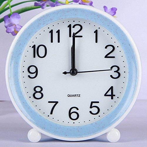 Gperw Belle sveglie Lovely Silent Round Alarm Clock per bambini Studenti bambini (blu)