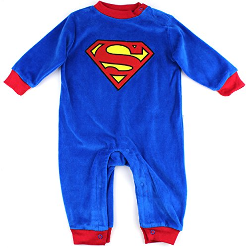 Superman Infant Blue Velour Coverall Jumpsuit (6/9M)