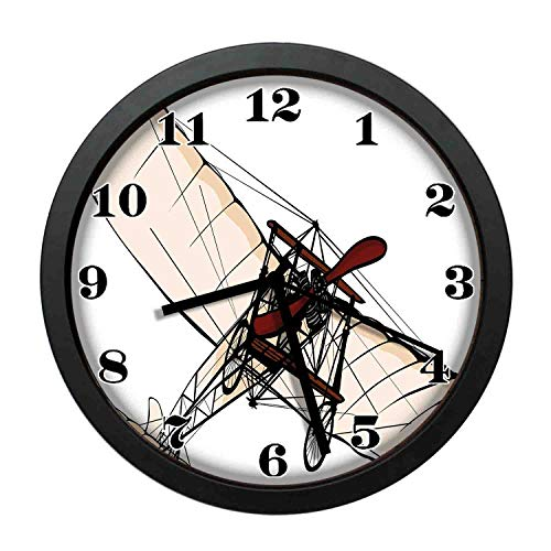 wojuedehuidamai6 Art Wall Clock- Old Fashioned Plane Engine Ancient Flight Illustration Print Decor Wall Clock for Home and Office with 10in ()