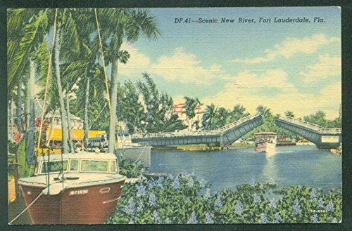 DRAWBRIDGE New River St Petersburg FLORIDA LINEN Vintage Postcard (Petersburg Linen)