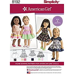 "Simplicity 8192 American Girl Doll Clothes for 18"" Doll, OS (ONE SIZE)"