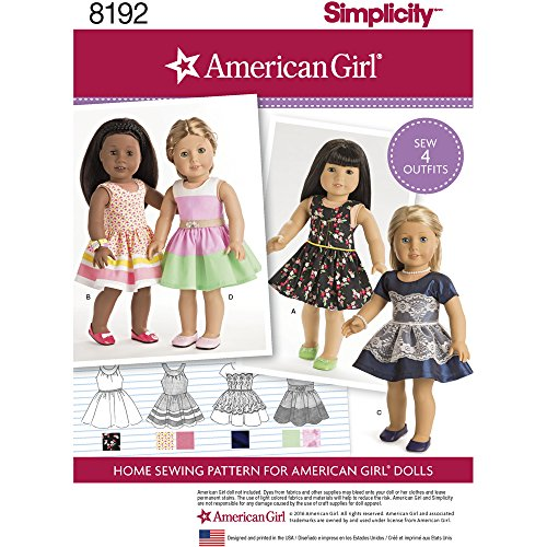 Simplicity Pattern 8192 American Girl Clothes for 18 Doll OS (ONE Size)