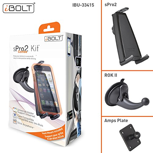 iBOLT sPro2 Windshield Dash and Vent Combo IBU-33415 Universal Phone car Mount kit with Two Different mounting Options (air Vent Mount and Suction Cup Windshield or Dashboard Mount)- Black