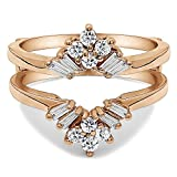 TwoBirch 0.44 ct. Cubic Zirconia V Shaped Round and Tapered Baguette Ring Guard in Rose Gold Plated Sterling Silver (3/8 ct. twt.)